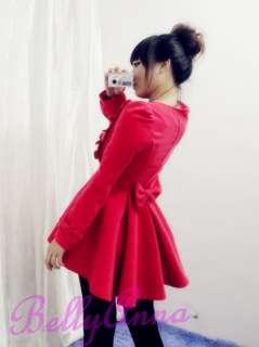 Ruffle Cashmere Wool Swing Skirt Jacket Overcoat Outwear