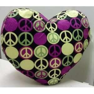 Heart Shape Decorative Pillow Peace Sign, Color Multi (Black