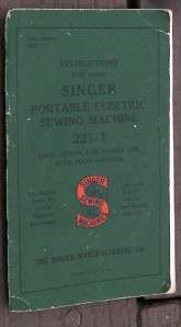 Antique Featherweight Singer Sewing Machine Model 221 1 w/Book