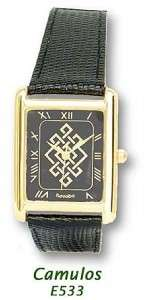 Irish Celtic Key Pattern Mens Gold Plated Watch Quartz