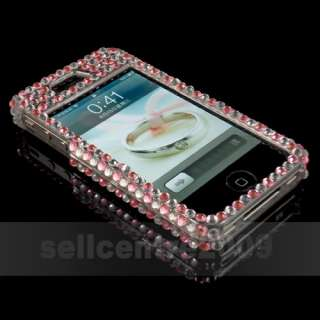 Fashion Pink Red Full Bling Rhinestones Hard Case Cover iphone 4 4G 4S
