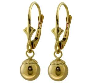 14K. SOLID GOLD LEVERBACK EARRING WITH BALL DANGLING