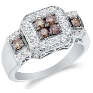 and Chocolate Brown Diamond Halo Engagement OR Fashion Right Hand Ring