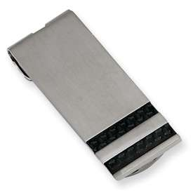 Chisel® Stainless Steel Black Carbon Fiber Money Clip