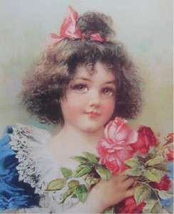 Victorian Look Print Little Girl Holding Red Rose