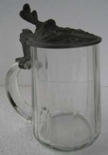 SKW TROSBERG OLD German GLASS BEAR STEIN MUG PEWTER LID