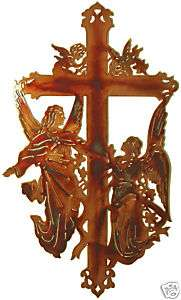 CROSS ANGELS RELIGIOUS METAL ART HOME WALL DECOR NEW