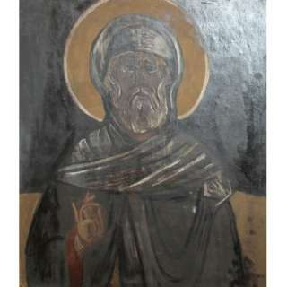 ANTIQUE ORTHODOX RELIGIOUS ICON SAINT PORTRAIT OIL PAINTING