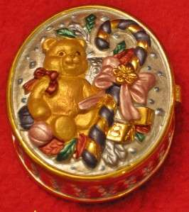 RUCINNI CHRISTMAS TEDDY BEAR & CANDY CANE TRINKET KEEPSAKE JEWELRY BOX