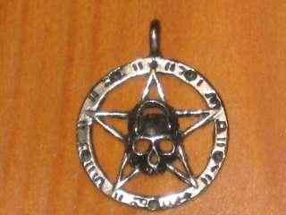 SATANIC SKULL SILVER TONE METAL PENDANT BY J.P.I