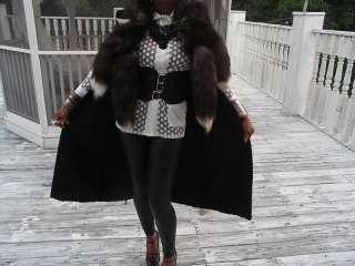 Black full length Swakara & Silver fox Fur vest Coat M