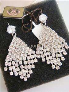 Juicy Couture Pave Crystal Chandelier Earrings Silver