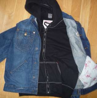 TRUE RELIGION $298 JOHNNY CLAIM JUMPER HOODIE DENIM JEAN JACKET NEW M