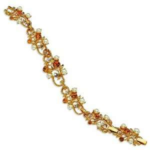 Gold plated Crystal & Simulated Pearl 7.5in Topaz Vine Bracelet/Gold