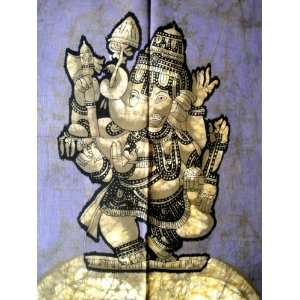 Indian God Ganesh Ganesha Cotton Fabric Tapestry Batik Painting