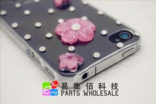 New Clear Pink Nice Flowers Bling Crystal iphone 4G 4S Cover/Case