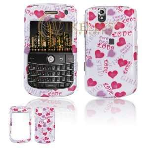White with Hot Pink and Purple Love Hearts Design Snap On Cover Hard