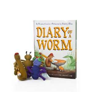Diary of a Worm Hardcover Book with Three Plush Finger