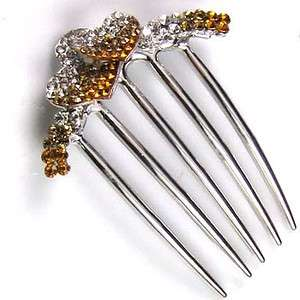 1p rhinestone crystal love heart French twist hair comb