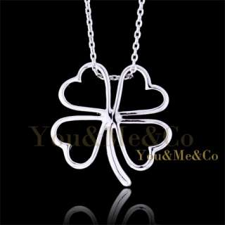 18k White Gold EP HEART LEAF Pendant Necklace