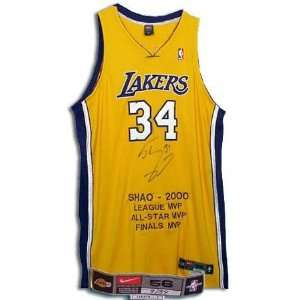 Shaquille ONeal Los Angeles Lakers Autographed Pro Cut 56+ 6 Jersey