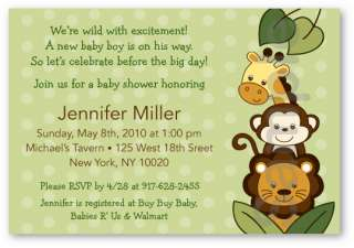 Safari Friends Jungle Animal Baby Shower Invitation