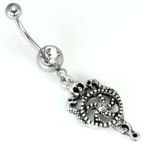 SINGLE GEM WITH DANGLING SKULL TWO SERPANTS BELLY BUTTON RING 14g 3/8