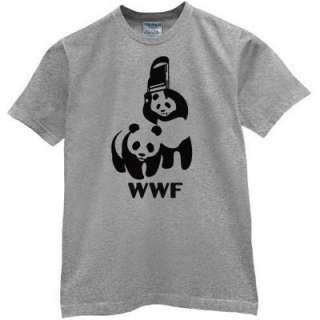 WWF PANDA BEAR wrestling shirt Retro Funny Cool t shirt Grey