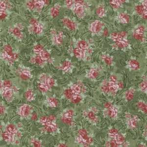 VICTORIAN COURTSHIP PINK ROSE GRN~ Cotton Quilt Fabric