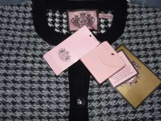 NWT Juicy Couture Houndstooth Wool Cardigan Sweater Medium