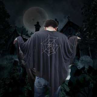 Mens Scary Black Spider Web Ghost Costume Halloween Masquerade Fancy