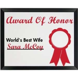 Award Of Honor Best Wife: Custom Wood Plaque: Home
