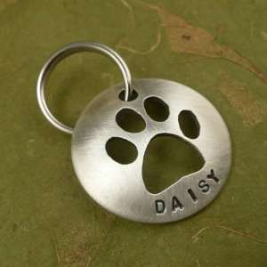 Cut Out Paw Silver Custom Dog Tag