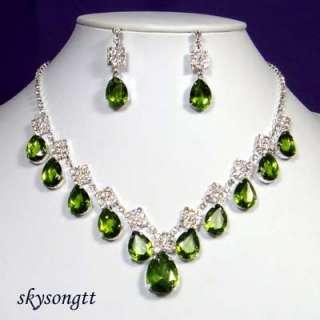 Swarovski Green Crystal Rhinestone Necklace Set S1108G