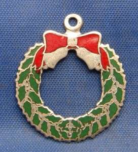 Vintage Silver & Enamel Christmas Wreath Charm marked BEAU STERLING