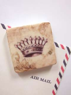 Shabby Cottage Chic Cream FRENCH CROWN Magnets 4/set