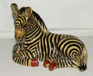 Vtg SIGNED SERMEL Tonala 7 PAPER MACHE Zebra JAL MEXICO