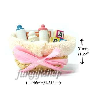 Dollhouse Miniature Baby Gift Set in Basket Toy Diaper DFL1