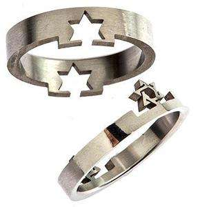 image stainless steel laser cut star of david puzzle ring width