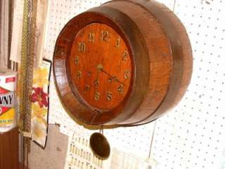 ANTIQUE BEER BARREL CLOCK 8 DAY & STRIKE ON BELL