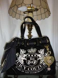 COUTURE BLACK VELOUR HERITAGE CREST SCOTTIE DAYDREAMER TOTE BAG