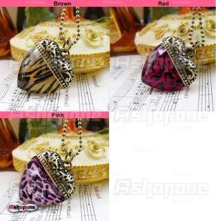 Retro Vintage Leopard Zebra Love Heart Shape Pendant Nacklace 3 Colors