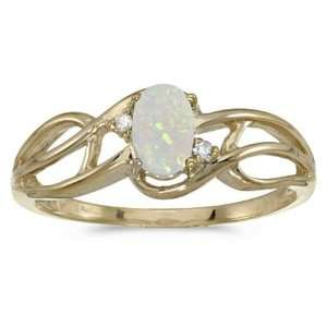 10k Yellow Gold October Birthstone Oval Opal And Diamond