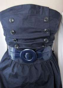 NEW Navy BLUE Sailor BUTTON Strapless RETRO BUBBLE HEM Mini MOD Lolita