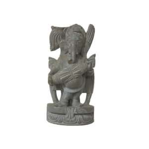 Ganesha Stone Statue Playing Dholak Religious Gift 4 Home & Kitchen