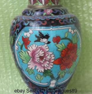 Chinese Handmade Copper Cloisonne Bird & Flower Design Vase Pot