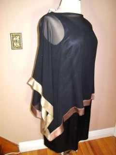 Marina Rinaldi Max Mara Dress + Sheer Kimono Black Silk Outfit MR21/12