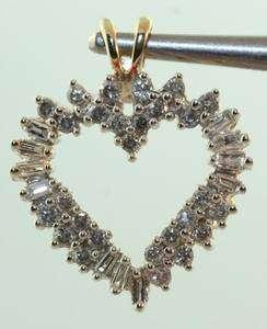 14k yellow gold .88ct diamond heart pendant vintage