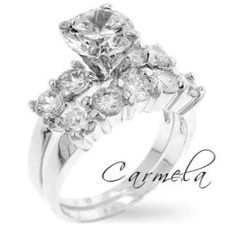 Classic Wedding Ring, White Gold Rhodium with Round Clear Cubic