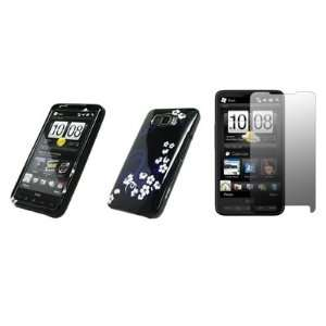 HTC HD2   Premium Pink Flowers on Silver Design Snap On